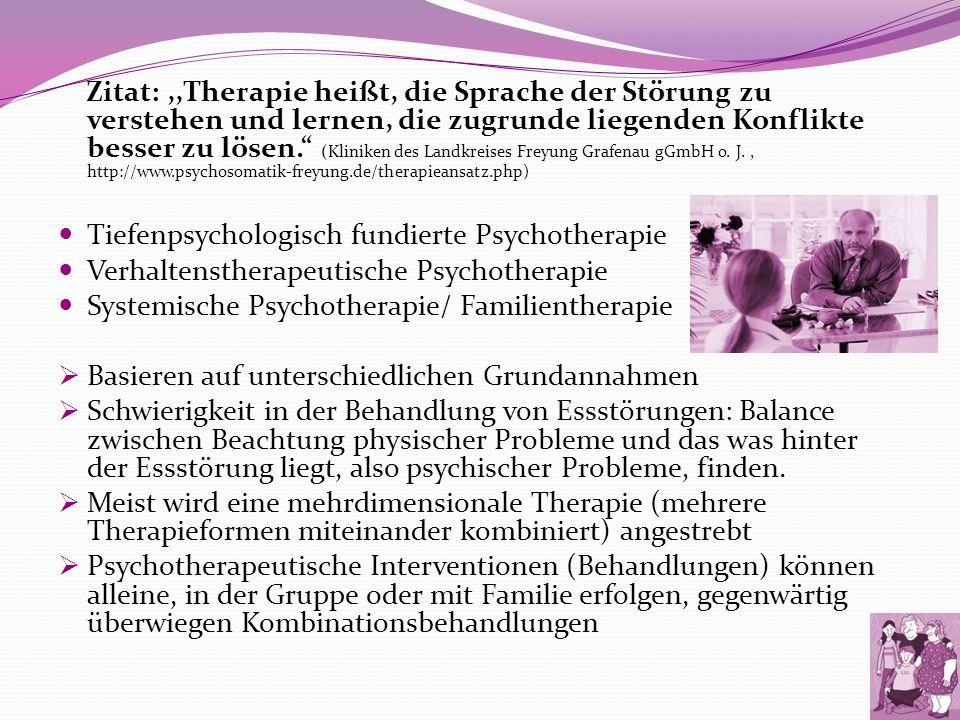 Zitat:,,Therapie heißt, die Sprache der Störung zu verstehen und lernen, die zugrunde liegenden Konflikte besser zu lösen. (Kliniken des Landkreises F