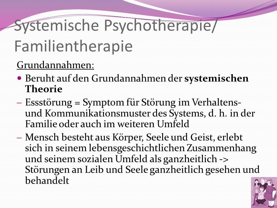 Systemische Psychotherapie/ Familientherapie Grundannahmen: Beruht auf den Grundannahmen der systemischen Theorie Essstörung = Symptom für Störung im