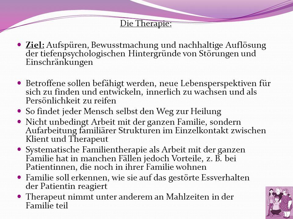 Die Therapie: Ziel: Aufspüren, Bewusstmachung und nachhaltige Auflösung der tiefenpsychologischen Hintergründe von Störungen und Einschränkungen Betro