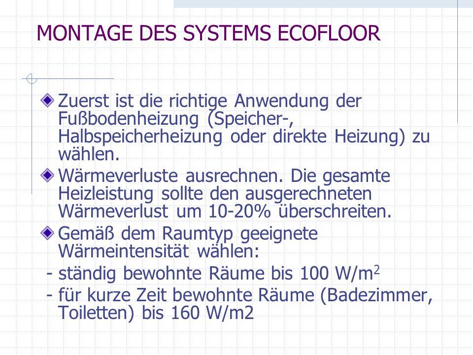 MONTAGE DES SYSTEMS ECOFLOOR Zuerst ist die richtige Anwendung der Fußbodenheizung (Speicher-, Halbspeicherheizung oder direkte Heizung) zu wählen. Wä