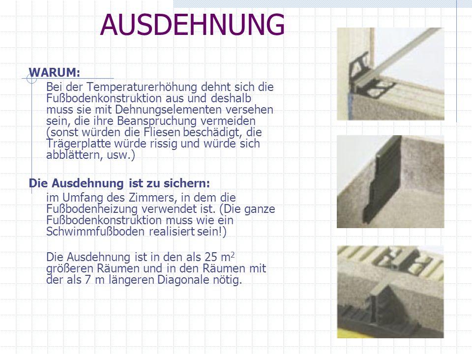 AUSDEHNUNG WARUM: Bei der Temperaturerhöhung dehnt sich die Fußbodenkonstruktion aus und deshalb muss sie mit Dehnungselementen versehen sein, die ihr