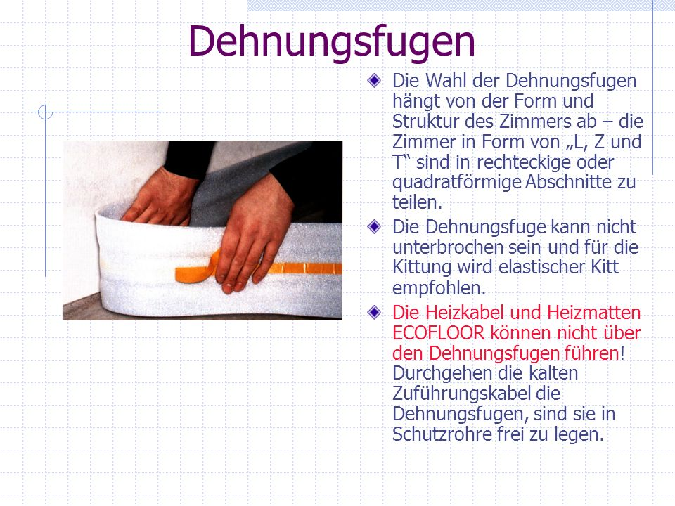 Verlegung der Heizmatte/des Heizkabels ECOFLOOR in elastischen Kitt (Leim) – neues Gebäude 1.