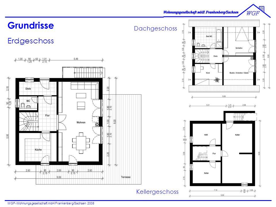 WGF-Wohnungsgesellschaft mbH Frankenberg/Sachsen 2008 Grundrisse Erdgeschoss Dachgeschoss Kellergeschoss