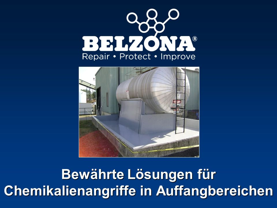 Unternehmen Problem Anwendungsdetails Belzona beschichtet Chemikalienauffangbereich Lebensmittelverarbeitungsbetrieb, Frankreich Schwere Beschädigung des Betons durch Leckagen und Kontamination Die Anwendung wurde gemäß dem Belzona Know-how Systeminfoblatt TCC- 15 durchgeführt.