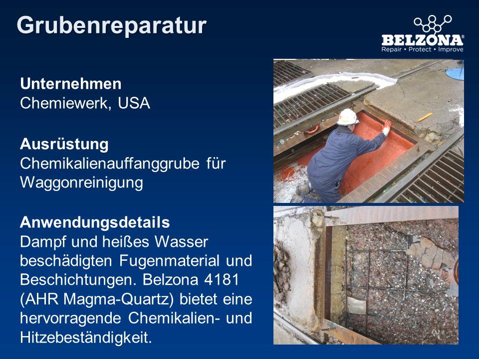 Unternehmen Chemiewerk, USA Ausrüstung Chemikalienauffanggrube für Waggonreinigung Anwendungsdetails Dampf und heißes Wasser beschädigten Fugenmateria