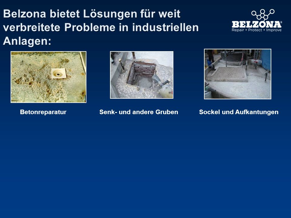 Belzona bietet Lösungen für weit verbreitete Probleme in industriellen Anlagen: BetonreparaturSockel und AufkantungenSenk- und andere Gruben