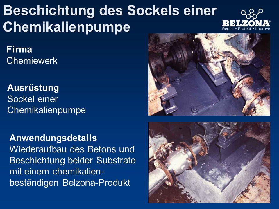 Firma Chemiewerk Ausrüstung Sockel einer Chemikalienpumpe Anwendungsdetails Wiederaufbau des Betons und Beschichtung beider Substrate mit einem chemik