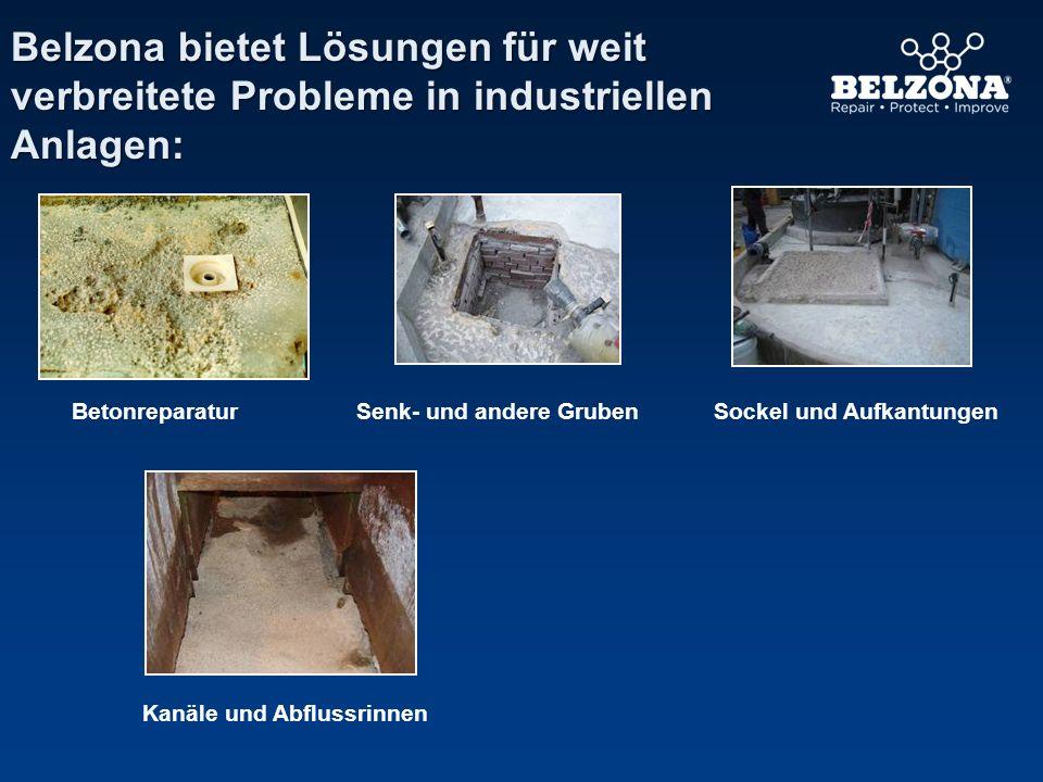 Belzona bietet Lösungen für weit verbreitete Probleme in industriellen Anlagen: Kanäle und Abflussrinnen BetonreparaturSockel und AufkantungenSenk- un