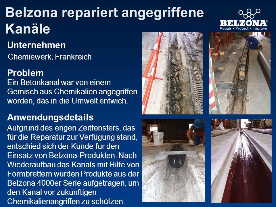 Unternehmen Problem Anwendungsdetails Belzona repariert angegriffene Kanäle Chemiewerk, Frankreich Ein Betonkanal war von einem Gemisch aus Chemikalie