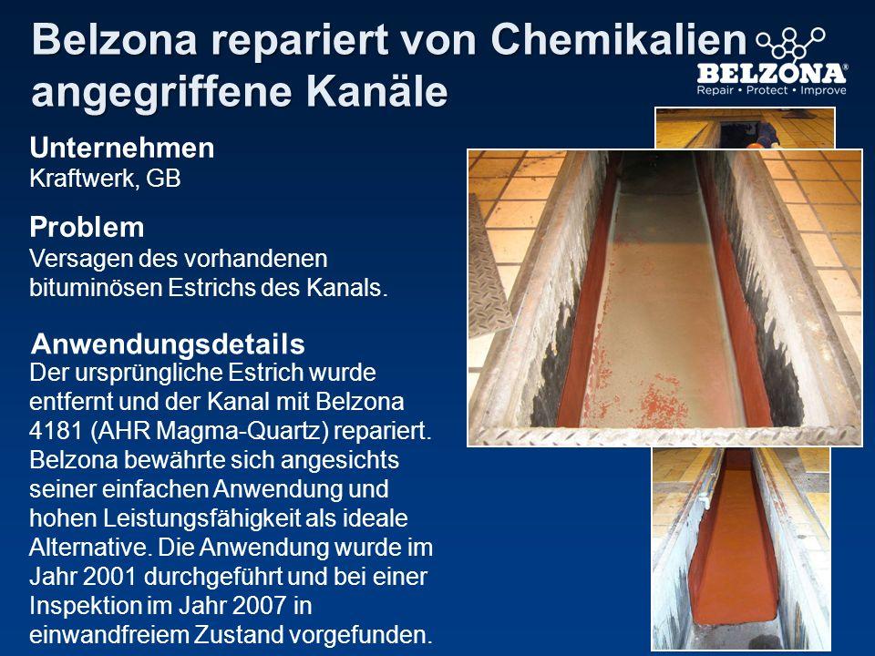 Unternehmen Problem Anwendungsdetails Belzona repariert von Chemikalien angegriffene Kanäle Kraftwerk, GB Versagen des vorhandenen bituminösen Estrich