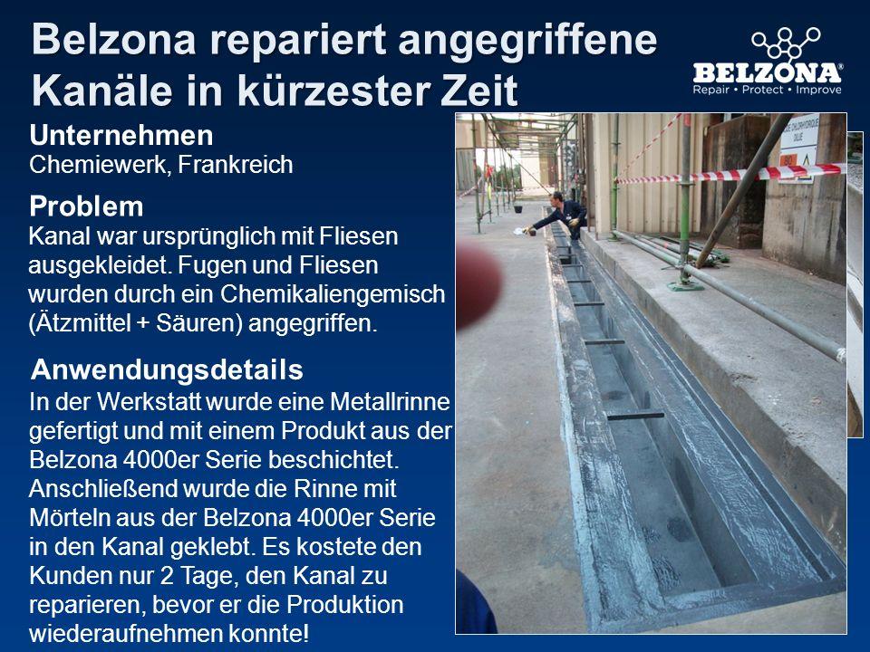 Unternehmen Problem Anwendungsdetails Belzona repariert angegriffene Kanäle in kürzester Zeit Chemiewerk, Frankreich Kanal war ursprünglich mit Fliese