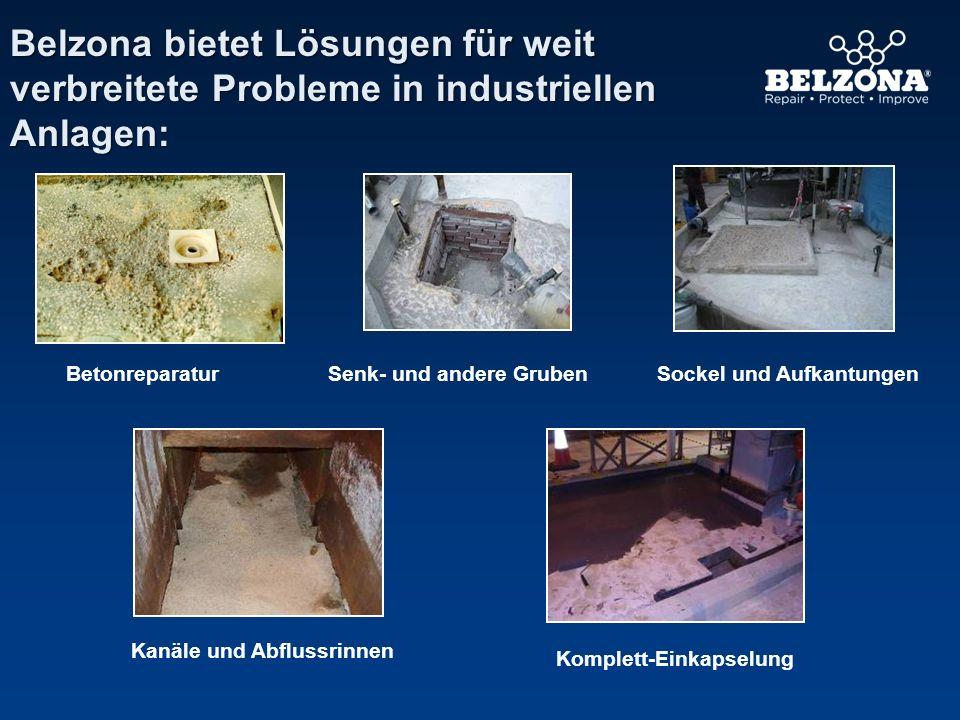 Belzona bietet Lösungen für weit verbreitete Probleme in industriellen Anlagen: Kanäle und Abflussrinnen BetonreparaturSockel und Aufkantungen Komplet