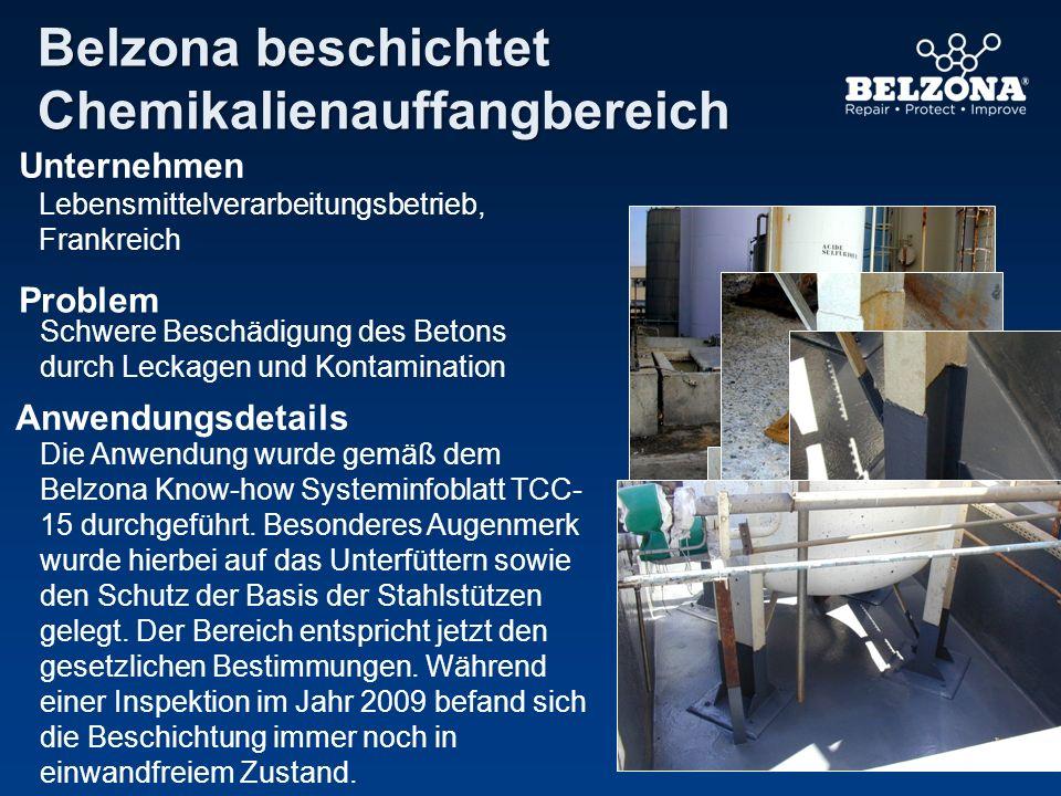 Unternehmen Problem Anwendungsdetails Belzona beschichtet Chemikalienauffangbereich Lebensmittelverarbeitungsbetrieb, Frankreich Schwere Beschädigung