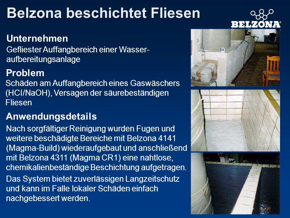 Unternehmen Problem Anwendungsdetails Belzona beschichtet Fliesen Gefliester Auffangbereich einer Wasser- aufbereitungsanlage Schäden am Auffangbereic