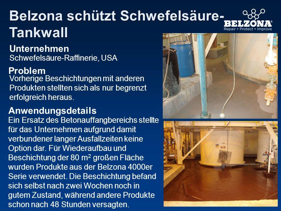 Unternehmen Problem Anwendungsdetails Belzona schützt Schwefelsäure- Tankwall Schwefelsäure-Raffinerie, USA Vorherige Beschichtungen mit anderen Produ