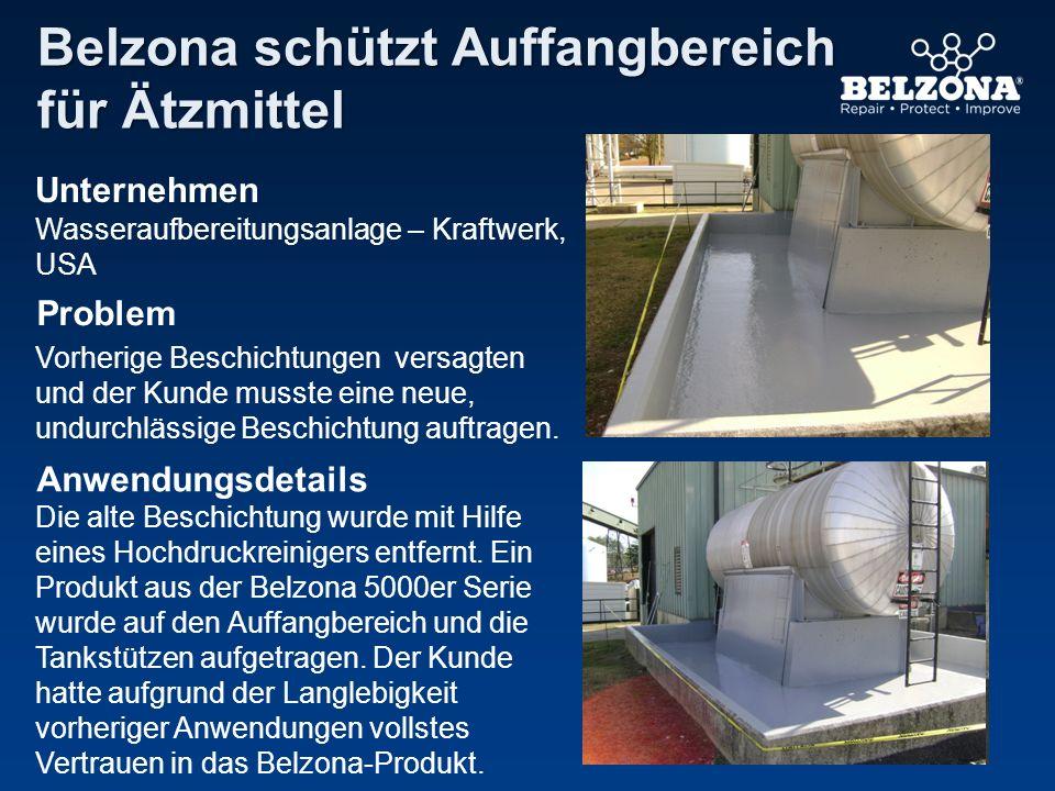 Unternehmen Problem Anwendungsdetails Belzona schützt Auffangbereich für Ätzmittel Wasseraufbereitungsanlage – Kraftwerk, USA Vorherige Beschichtungen