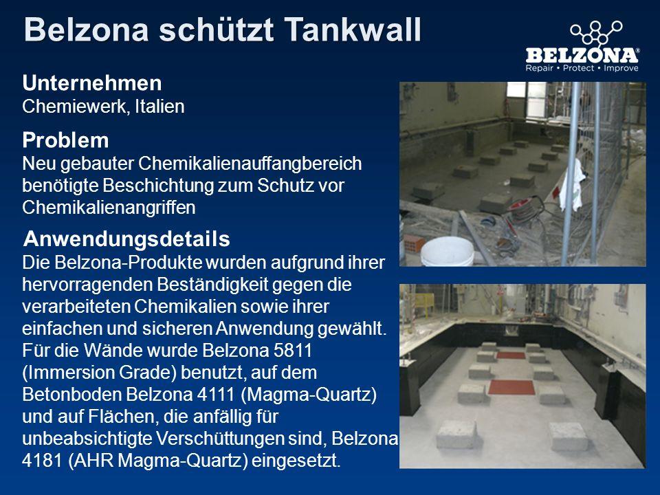 Unternehmen Problem Anwendungsdetails Belzona schützt Tankwall Chemiewerk, Italien Neu gebauter Chemikalienauffangbereich benötigte Beschichtung zum S