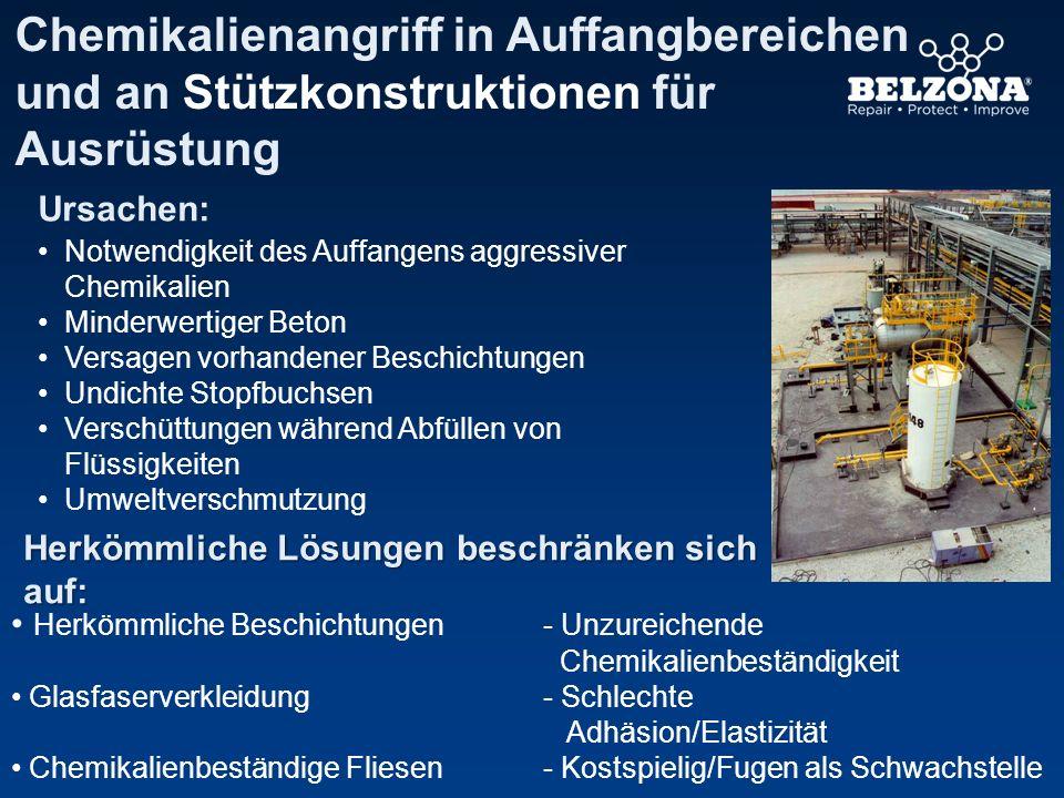 Chemikalienangriff in Auffangbereichen und an Stützkonstruktionen für Ausrüstung Ursachen: Notwendigkeit des Auffangens aggressiver Chemikalien Minder