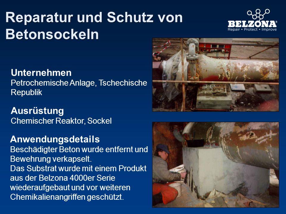 Anwendungsdetails Beschädigter Beton wurde entfernt und Bewehrung verkapselt. Das Substrat wurde mit einem Produkt aus der Belzona 4000er Serie wieder