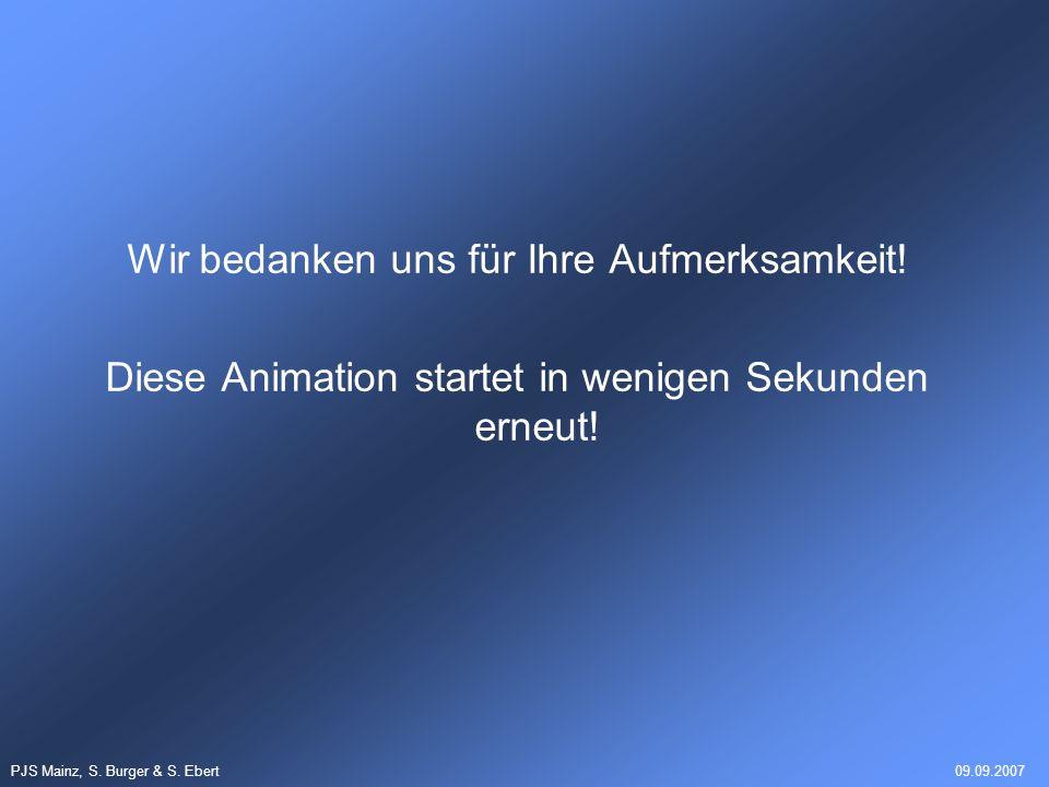 PJS Mainz, S. Burger & S. Ebert09.09.2007 Wir bedanken uns für Ihre Aufmerksamkeit! Diese Animation startet in wenigen Sekunden erneut!