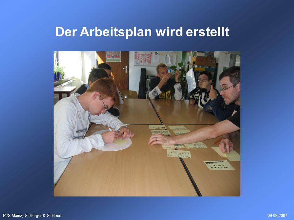 PJS Mainz, S. Burger & S. Ebert09.09.2007 Der Arbeitsplan wird erstellt