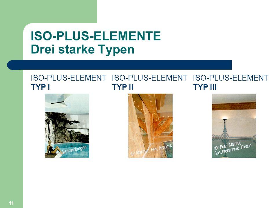 11 ISO-PLUS-ELEMENTE Drei starke Typen ISO-PLUS-ELEMENT TYP I ISO-PLUS-ELEMENT TYP II ISO-PLUS-ELEMENT TYP III