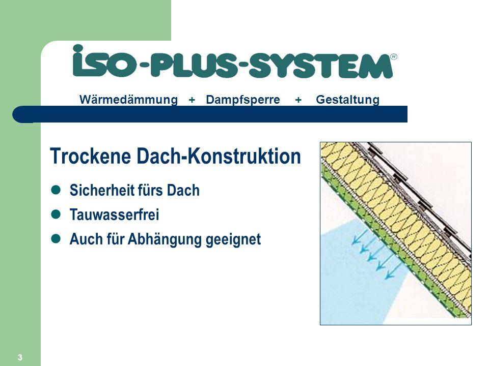 4 Wärmedämmung + Dampfsperre + Gestaltung Sicherheit für Betondecken Wärmedämmung + Dampfsperre Spezial-Deckendübel für Schwimmhallen Spezial-Abhänge-System Gipsfreie Platte: ISO-Feuchtraum-Paneel