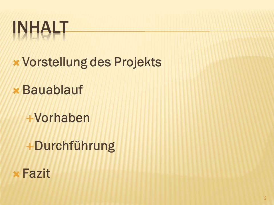 Vorstellung des Projekts Bauablauf Vorhaben Durchführung Fazit 2
