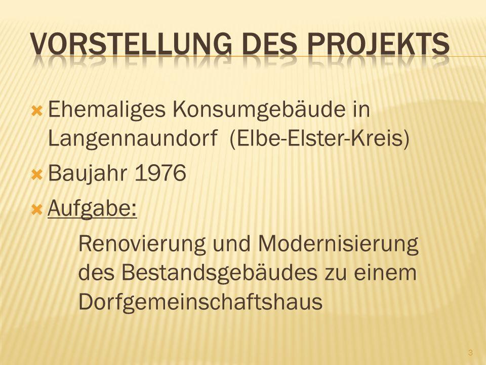 Ehemaliges Konsumgebäude in Langennaundorf (Elbe-Elster-Kreis) Baujahr 1976 Aufgabe: Renovierung und Modernisierung des Bestandsgebäudes zu einem Dorfgemeinschaftshaus 3