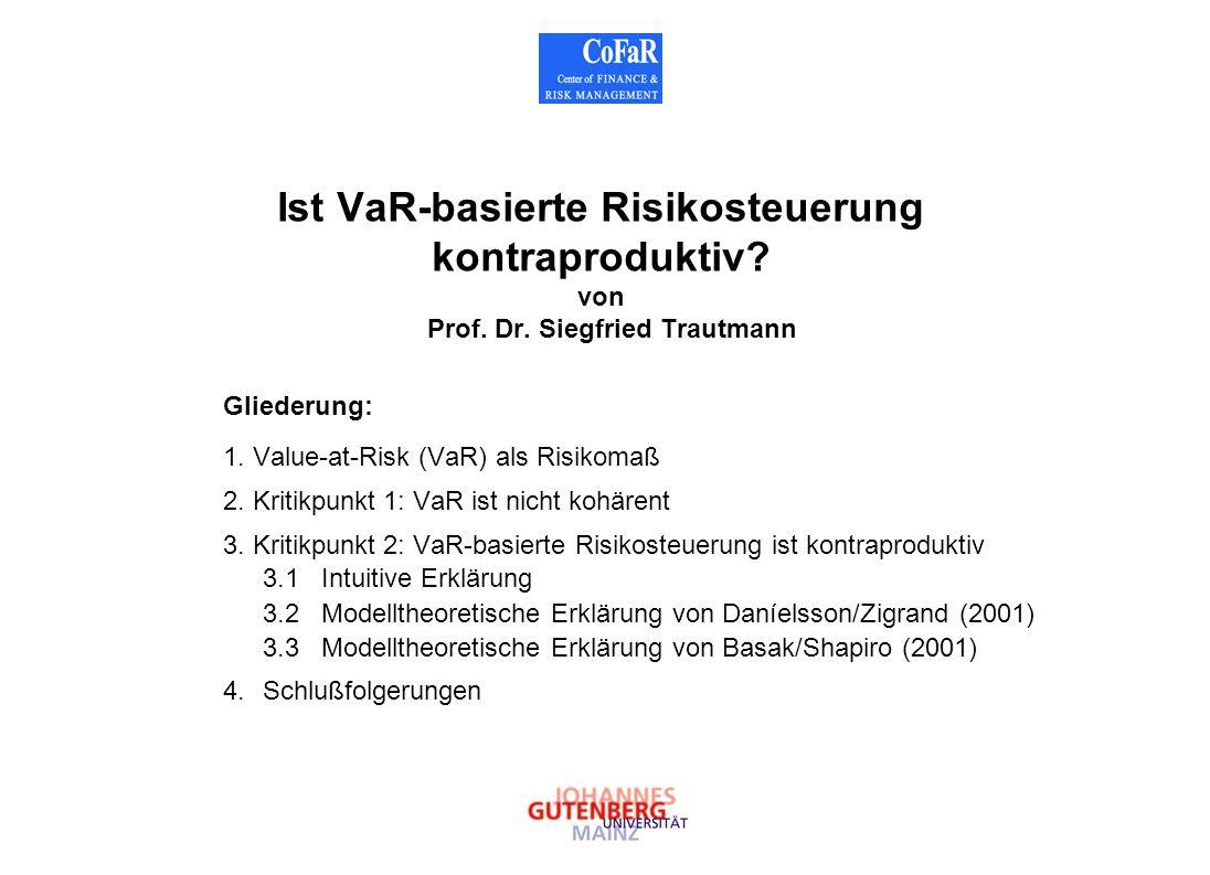 Ist VaR-basierte Risikosteuerung kontraproduktiv? von Prof. Dr. Siegfried Trautmann Gliederung: 1. Value-at-Risk (VaR) als Risikomaß 2. Kritikpunkt 1:
