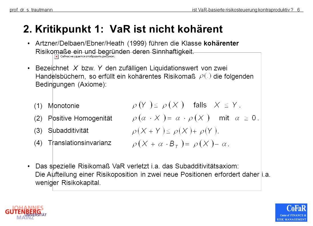 ist VaR-basierte risikosteuerung kontraproduktiv ?prof. dr. s. trautmann6 2. Kritikpunkt 1: VaR ist nicht kohärent (1) Monotonie (2) Positive Homogeni