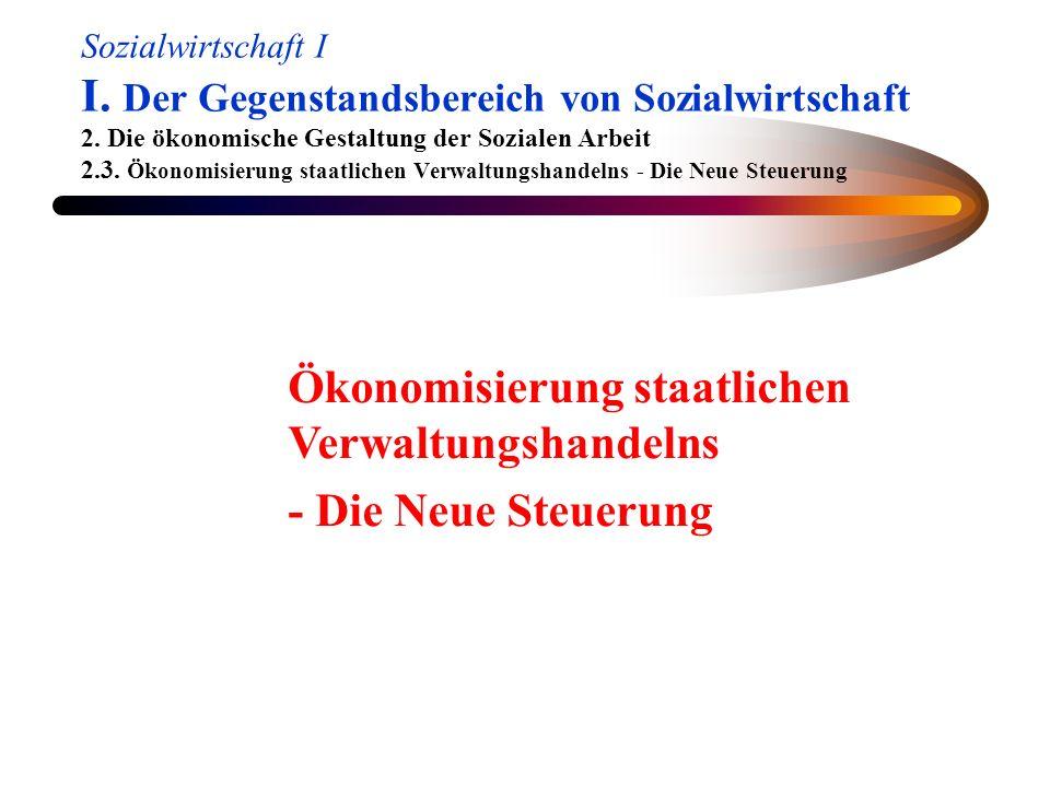 Sozialwirtschaft I I. Der Gegenstandsbereich von Sozialwirtschaft 2. Die ökonomische Gestaltung der Sozialen Arbeit 2.3. Ökonomisierung staatlichen Ve