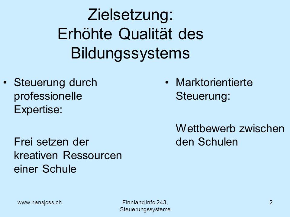 www.hansjoss.chFinnland Info 243, Steuerungssysteme 2 Zielsetzung: Erhöhte Qualität des Bildungssystems Steuerung durch professionelle Expertise: Frei setzen der kreativen Ressourcen einer Schule Marktorientierte Steuerung: Wettbewerb zwischen den Schulen