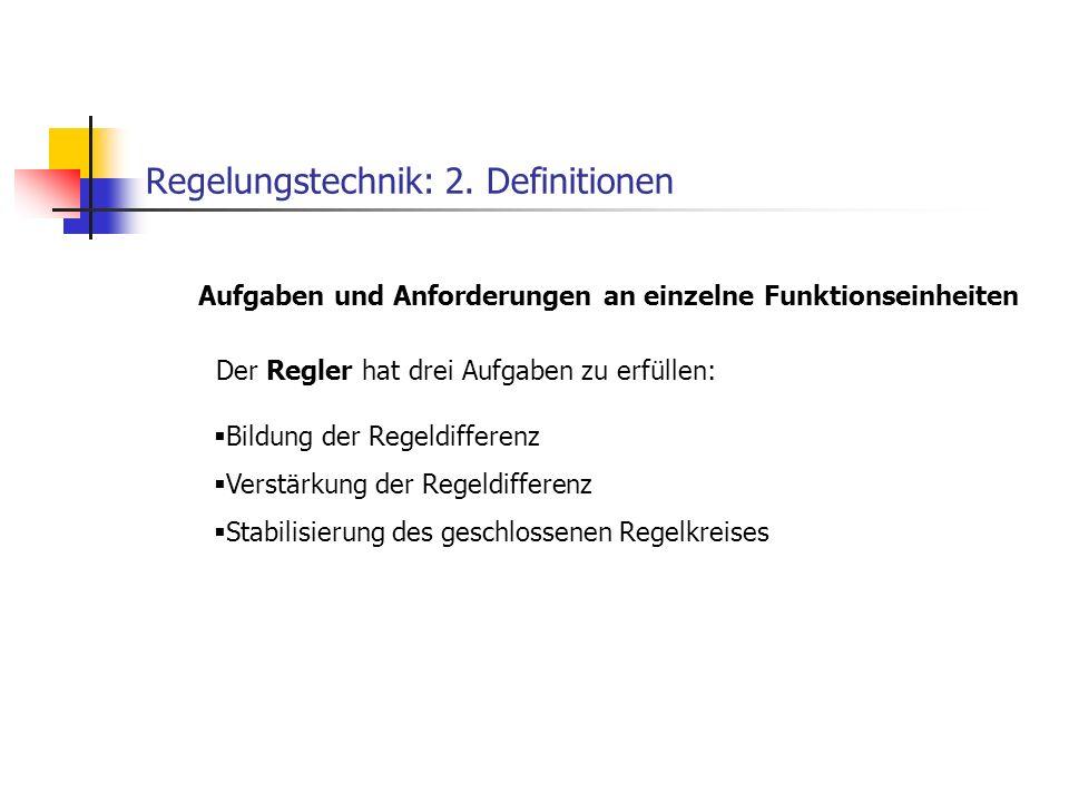 Regelungstechnik: 2. Definitionen Der Regler hat drei Aufgaben zu erfüllen: Aufgaben und Anforderungen an einzelne Funktionseinheiten Bildung der Rege