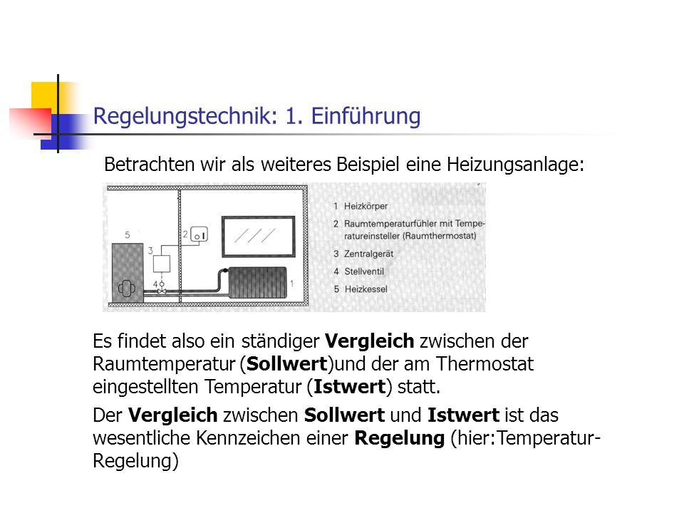 Regelungstechnik: 1. Einführung Betrachten wir als weiteres Beispiel eine Heizungsanlage: Es findet also ein ständiger Vergleich zwischen der Raumtemp