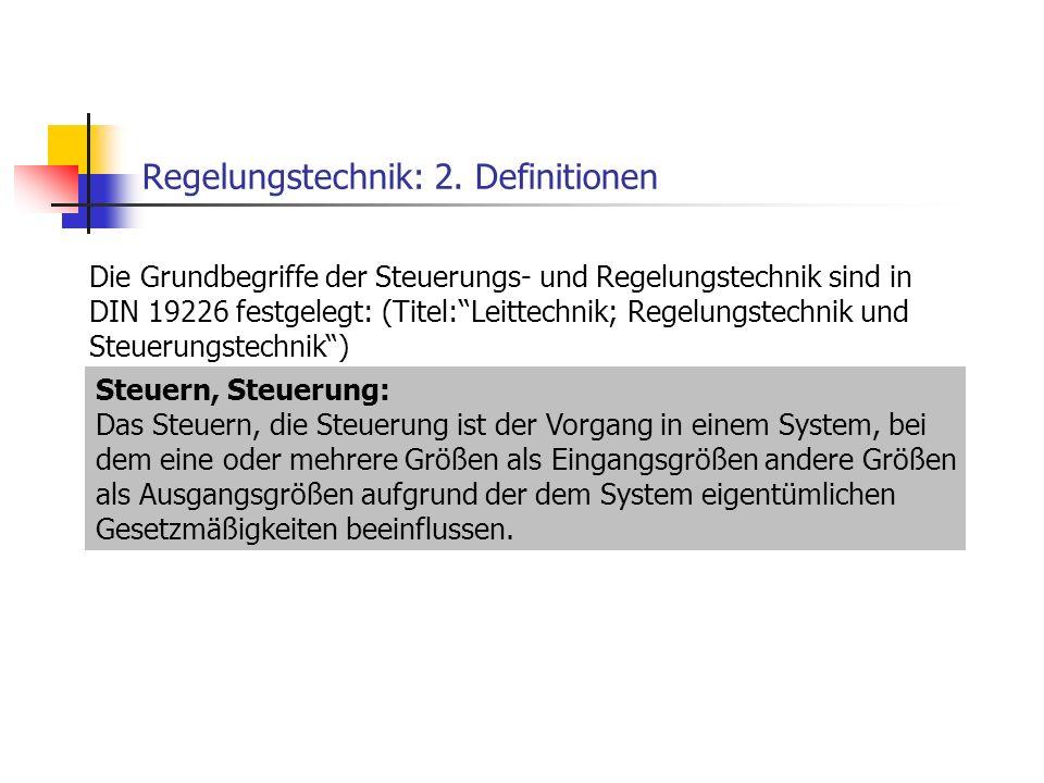Regelungstechnik: 2. Definitionen Die Grundbegriffe der Steuerungs- und Regelungstechnik sind in DIN 19226 festgelegt: (Titel:Leittechnik; Regelungste