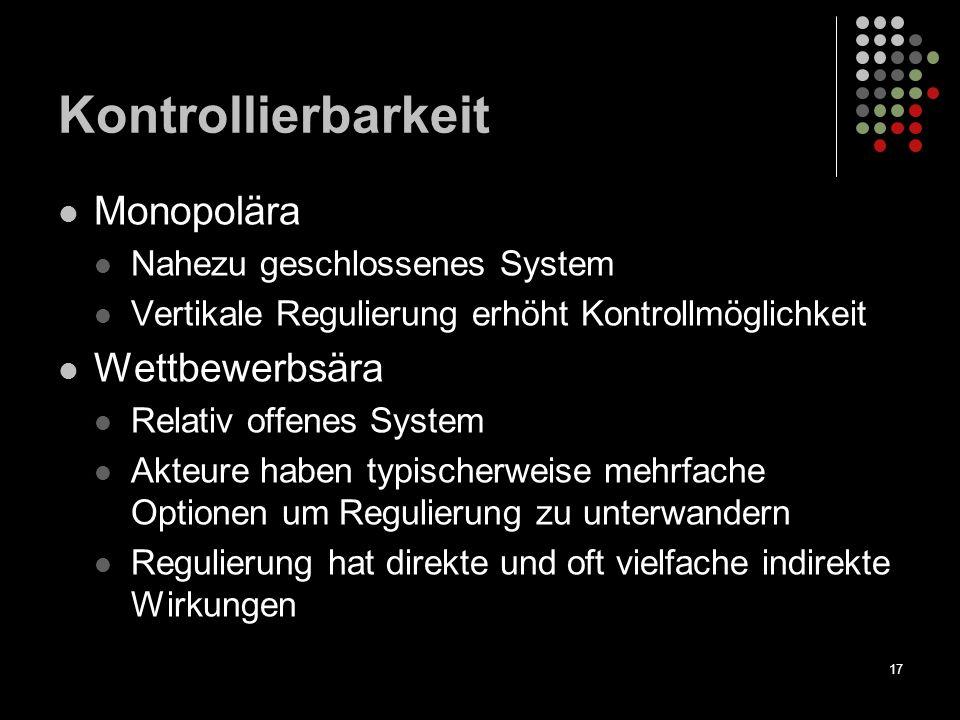 17 Kontrollierbarkeit Monopolära Nahezu geschlossenes System Vertikale Regulierung erhöht Kontrollmöglichkeit Wettbewerbsära Relativ offenes System Ak