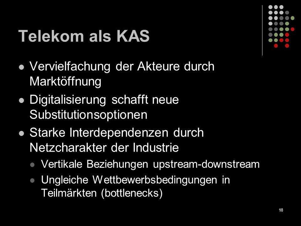 18 Telekom als KAS Vervielfachung der Akteure durch Marktöffnung Digitalisierung schafft neue Substitutionsoptionen Starke Interdependenzen durch Netz