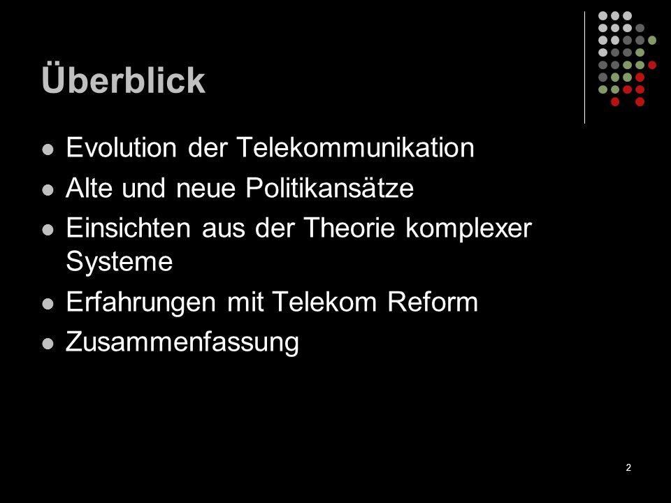 2 Überblick Evolution der Telekommunikation Alte und neue Politikansätze Einsichten aus der Theorie komplexer Systeme Erfahrungen mit Telekom Reform Z