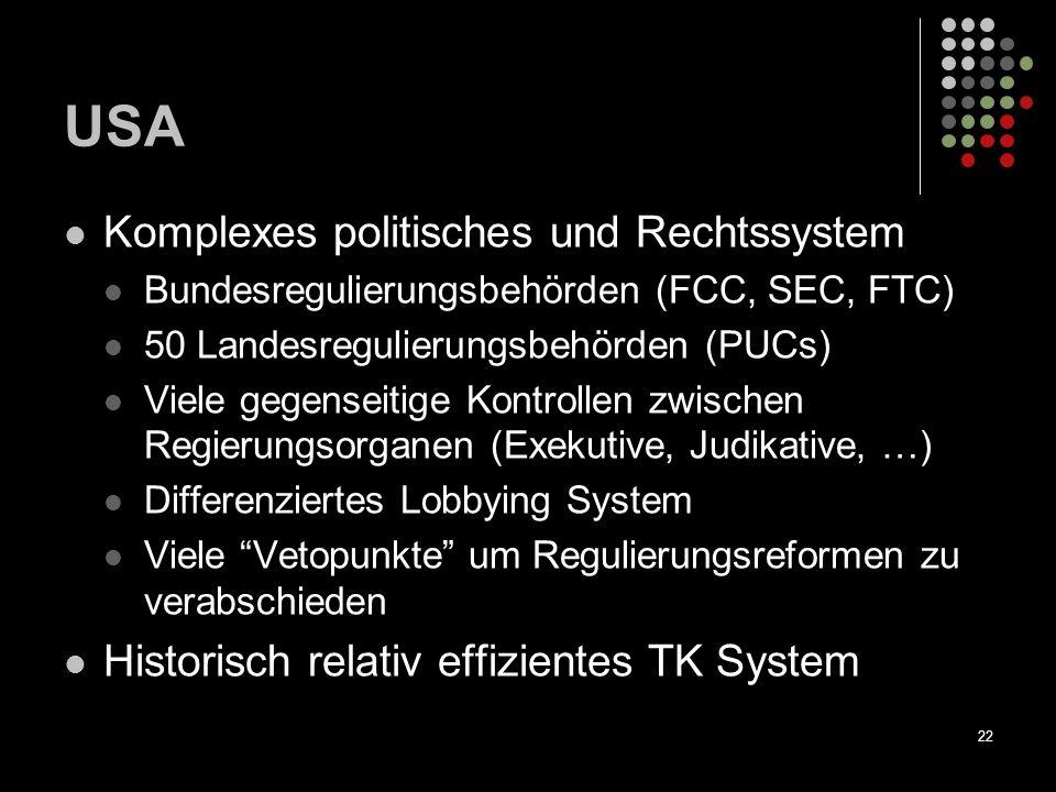 22 USA Komplexes politisches und Rechtssystem Bundesregulierungsbehörden (FCC, SEC, FTC) 50 Landesregulierungsbehörden (PUCs) Viele gegenseitige Kontr