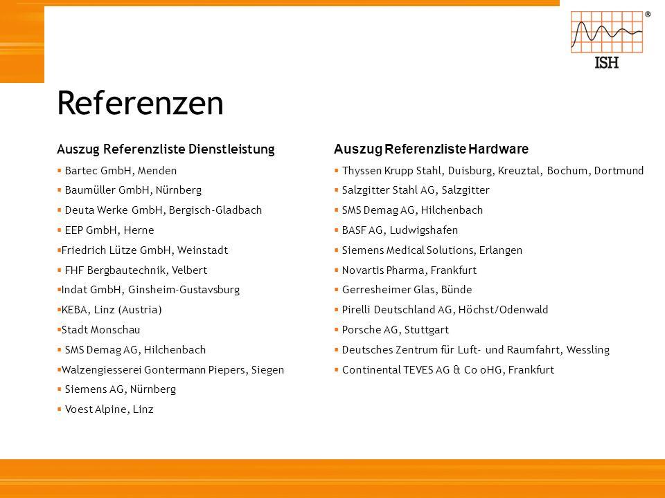 Auszug Referenzliste Dienstleistung Bartec GmbH, Menden Baumüller GmbH, Nürnberg Deuta Werke GmbH, Bergisch-Gladbach EEP GmbH, Herne Friedrich Lütze G