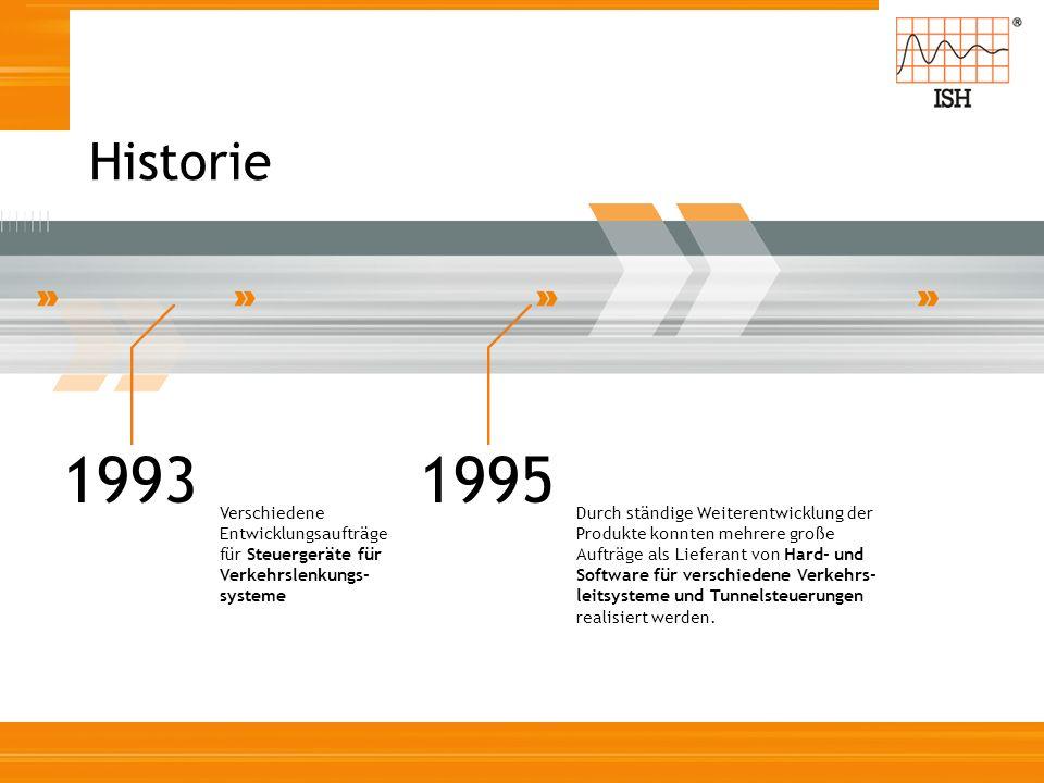 Historie 1993 Verschiedene Entwicklungsaufträge für Steuergeräte für Verkehrslenkungs- systeme 1995 Durch ständige Weiterentwicklung der Produkte konn