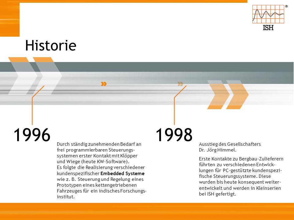Historie 1996 Durch ständig zunehmenden Bedarf an frei programmierbaren Steuerungs- systemen erster Kontakt mit Klöpper und Wiege (heute KW-Software).