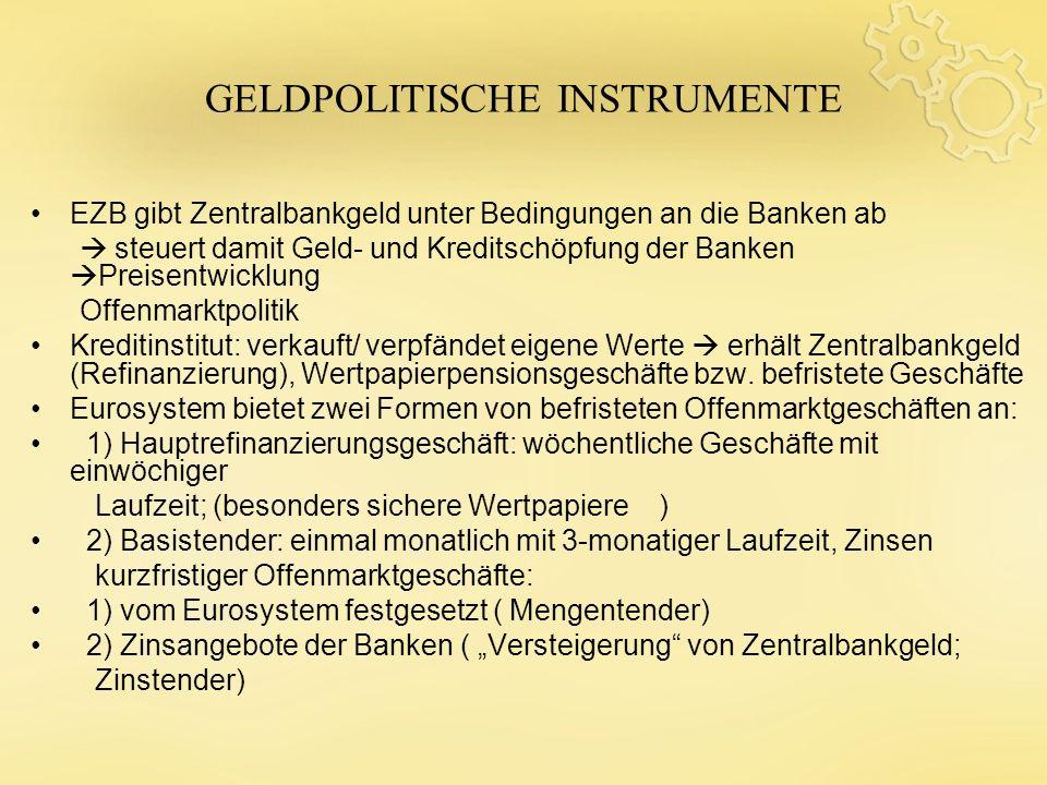 GELDPOLITISCHE INSTRUMENTE EZB gibt Zentralbankgeld unter Bedingungen an die Banken ab steuert damit Geld- und Kreditschöpfung der Banken Preisentwick