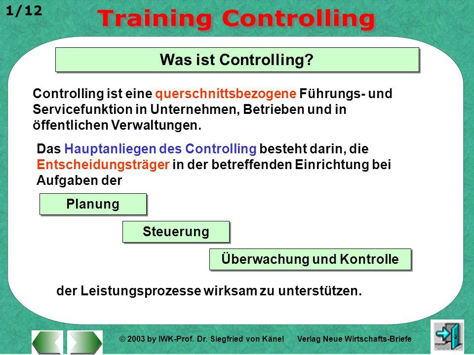 © 2003 by IWK-Prof. Dr. Siegfried von Känel 1/12 Verlag Neue Wirtschafts-Briefe Was ist Controlling? Controlling ist eine querschnittsbezogene Führung