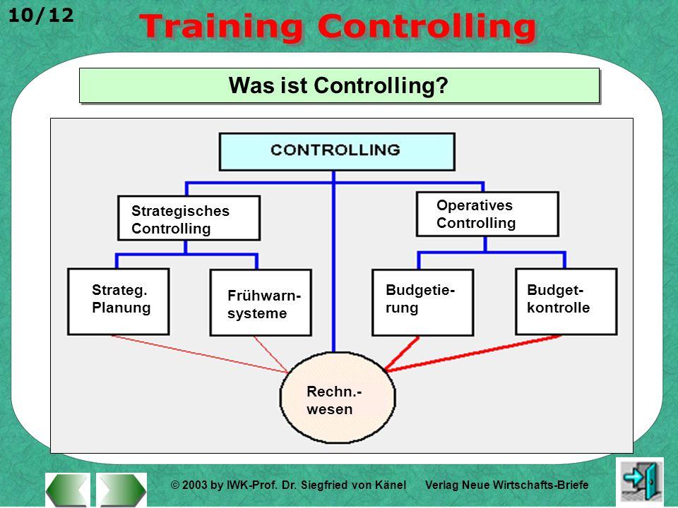 © 2003 by IWK-Prof. Dr. Siegfried von Känel 10/12 Verlag Neue Wirtschafts-Briefe Was ist Controlling? Strategisches Controlling Operatives Controlling