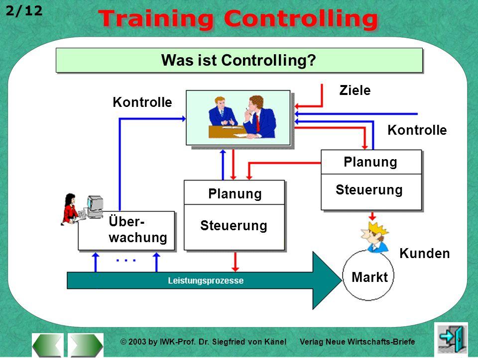 © 2003 by IWK-Prof. Dr. Siegfried von Känel 2/12 Verlag Neue Wirtschafts-Briefe Was ist Controlling? Planung Über- wachung Steuerung Ziele Kontrolle M