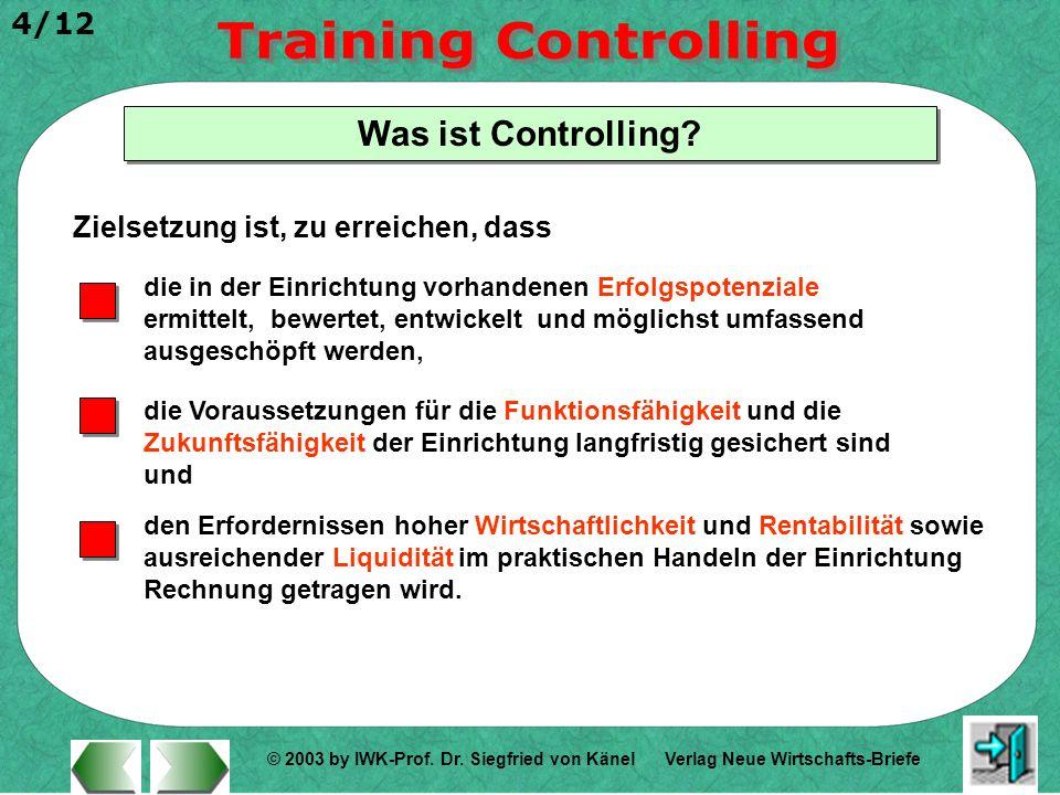 © 2003 by IWK-Prof. Dr. Siegfried von Känel 4/12 Verlag Neue Wirtschafts-Briefe Was ist Controlling? Zielsetzung ist, zu erreichen, dass die in der Ei