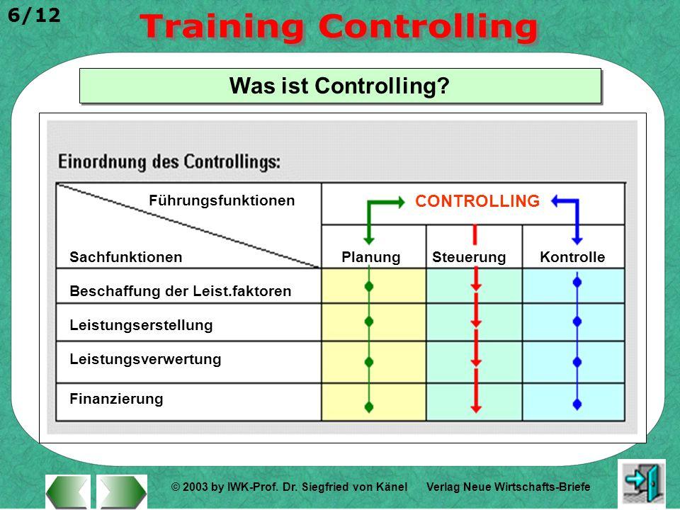 © 2003 by IWK-Prof. Dr. Siegfried von Känel 6/12 Verlag Neue Wirtschafts-Briefe Was ist Controlling? Sachfunktionen Führungsfunktionen Beschaffung der