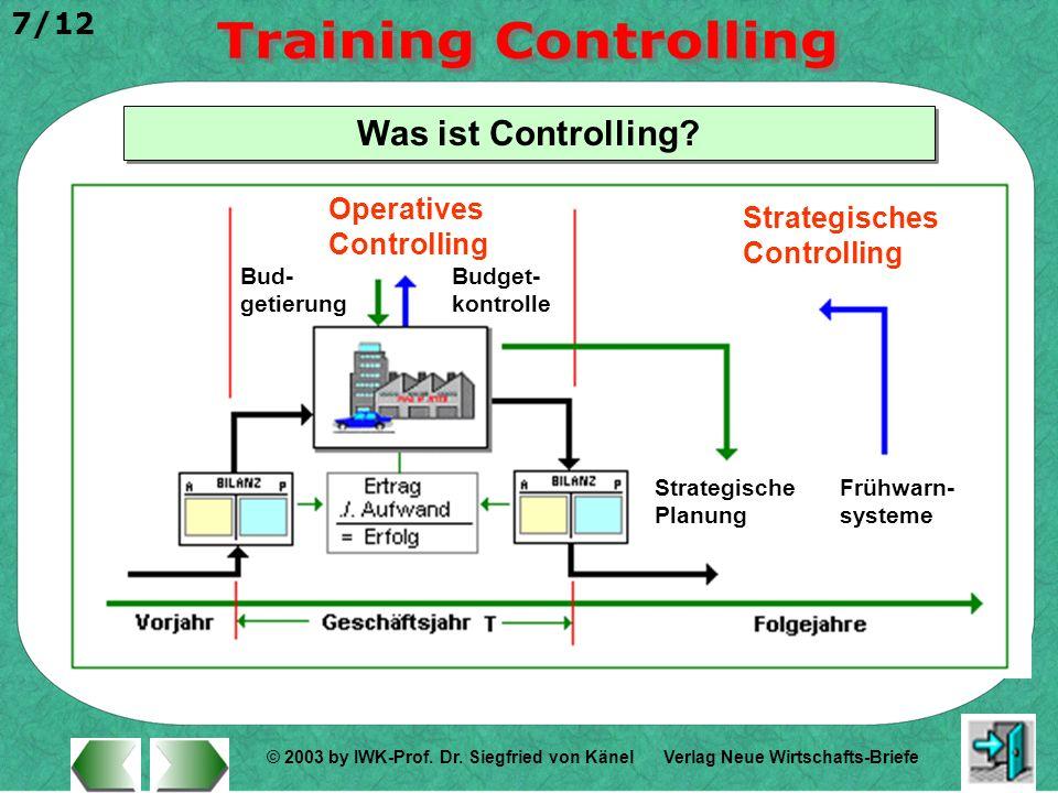 © 2003 by IWK-Prof. Dr. Siegfried von Känel 7/12 Verlag Neue Wirtschafts-Briefe Was ist Controlling? Operatives Controlling Strategisches Controlling